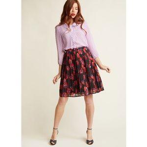 Modcloth Floral Midi Skirt A-Line Poppy Print